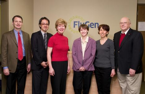 From L-R: Paul Radspinner (president-CEO), Yoshi Kawaoka (co-founder), Rep. Tammy Baldwin (D-WI), Gabi Neumann (co-founder), Pamuk Bilsel (VP R&D) and Daryl Buss (Dean of UW Veterinary Medicine).